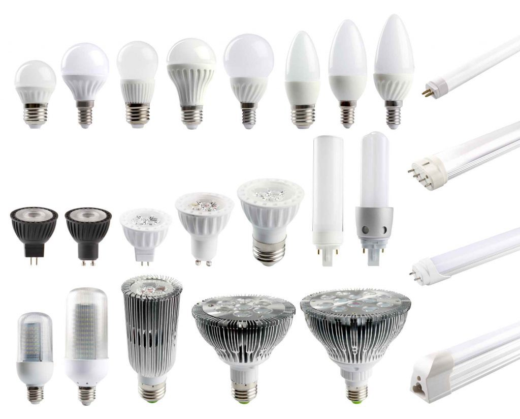 A large set of LED bulbs isolated on white background.